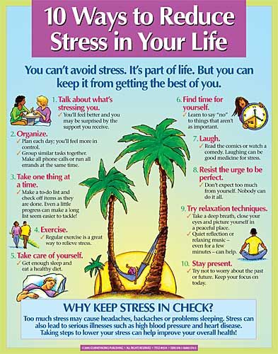 10 Ways to Reduce Stress in Your Life (Display Poster) - journeyworks.com